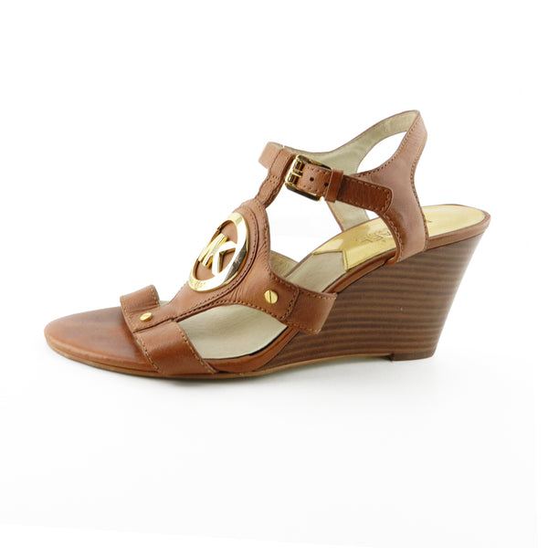 Michael Kors Brown Leather Logo Strap Wedges sz 8