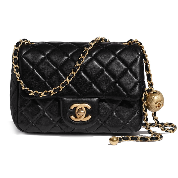 Chanel Quilted Lambskin GHW Pearl Mini Flap Bag