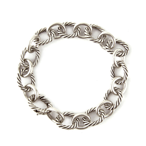 David Yurman Large Oval Link Silver Bracelet