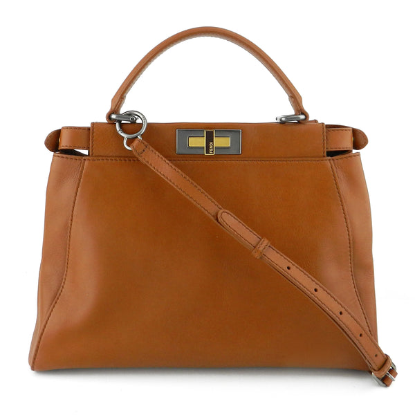 Fendi Peekaboo Medium Cognac Calfskin Satchel & Crossbody