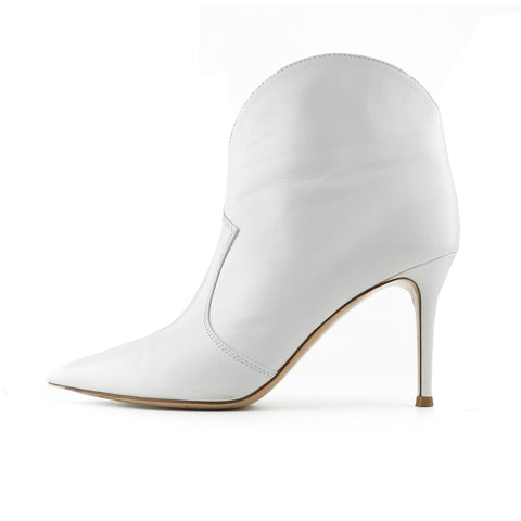 Gianvito Rossi Mable White Leather Ankle Boots sz 38.5 / 8