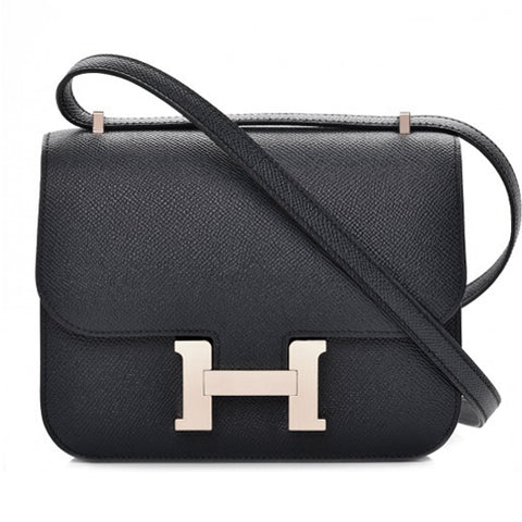 Hermes Epsom Black Leather Constance 24 Crossbody