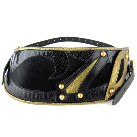 Etro Paneled Fur & Snakeskin Belt - NEW