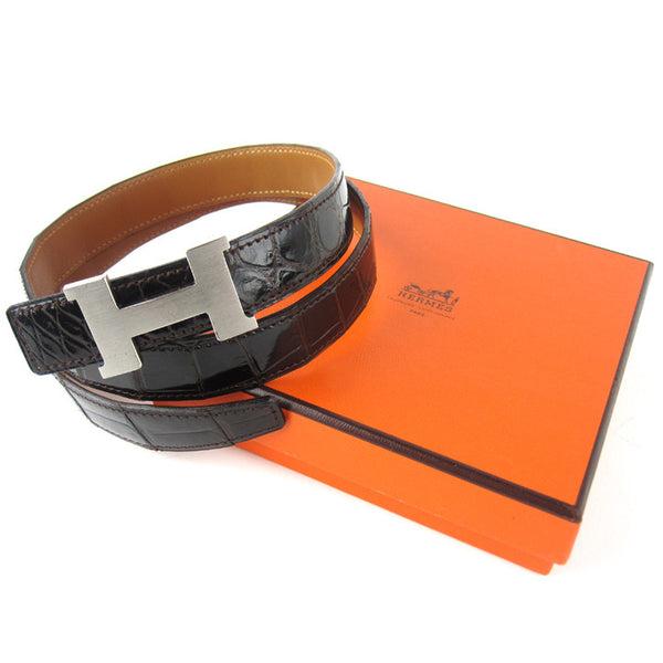 Hermes Crocodile & Silver H Belt 70