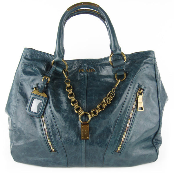 Prada Vitello Shine XL Tote - Teal