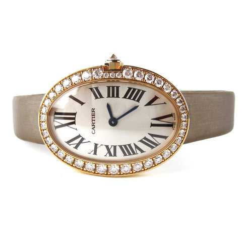 Cartier Baignoire Rose Gold Pave Watch