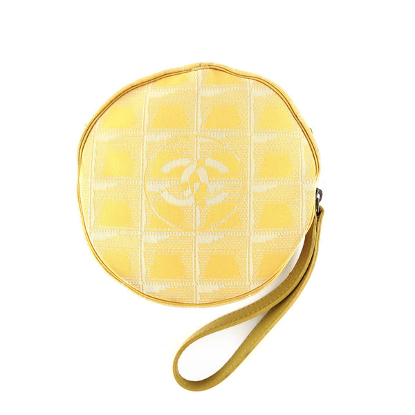 Chanel Round Yellow Canvas Wristlet Clutch