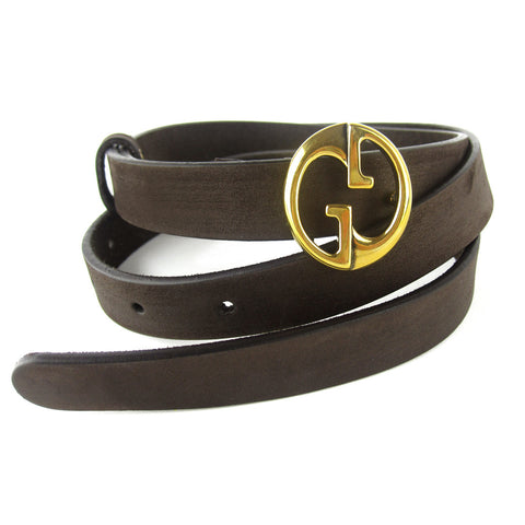Gucci GG Nubuck Thin Leather Belt