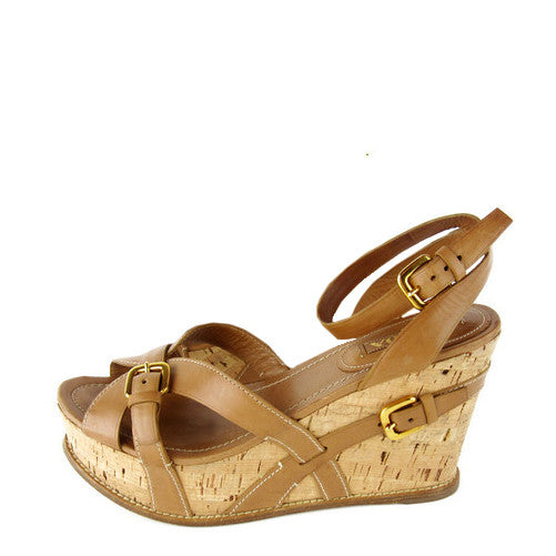 Prada Leather Wedge Sandals 41