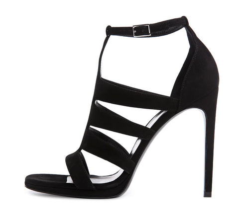 Saint Laurent Black Multi-Strap Suede Jane Sandals sz 39.5/9