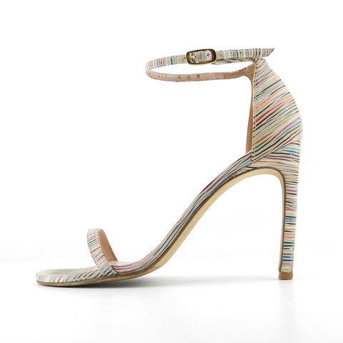 Stuart Weitzman Rainbow Striped Nudist Sandals sz 40 / 10