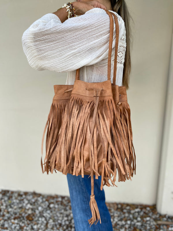 Mercado Global Fringe Bucket Bag