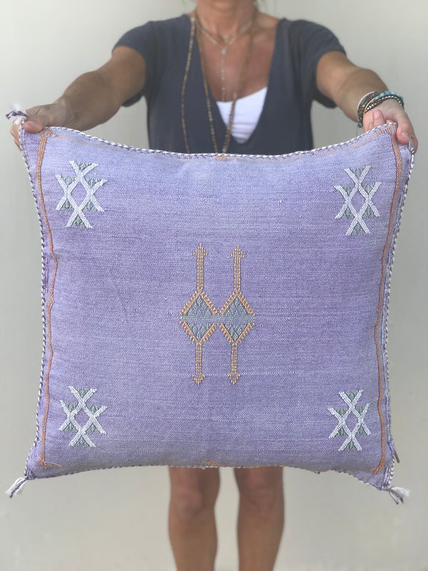 Lilac Cactus Silk Pillow