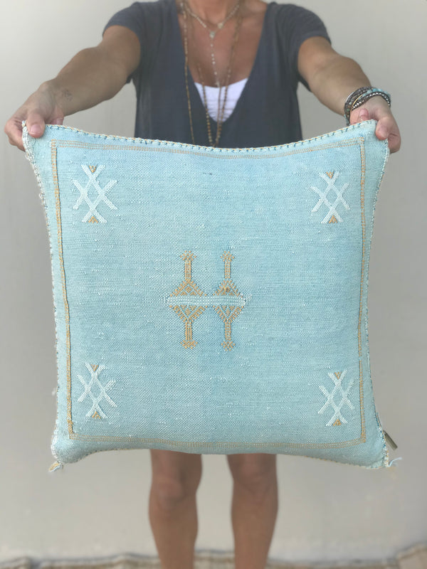Aqua Cactus Silk Pillow