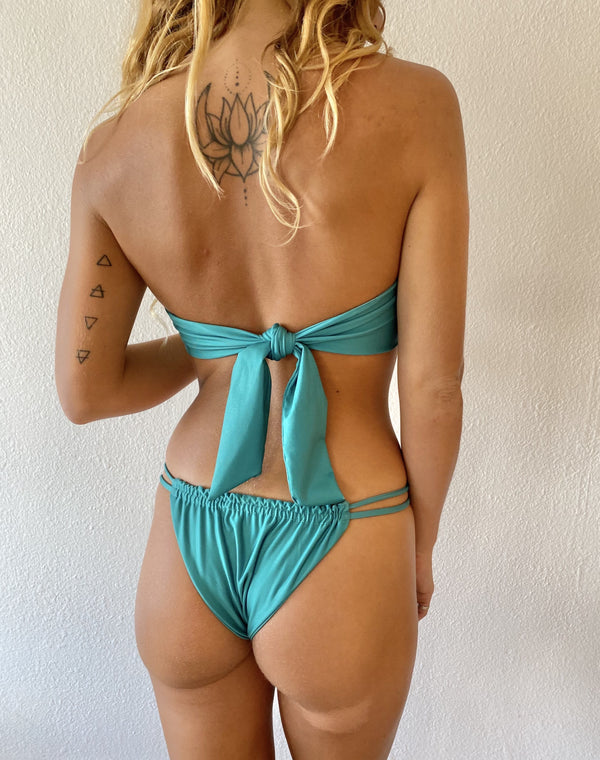 Tierra Coverage Bikini Bottom in Emerald