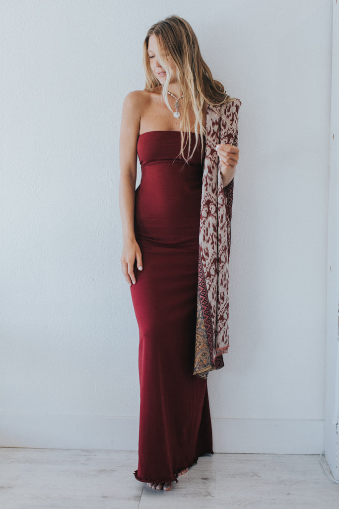 Serena Maxi Dress In Burgundy