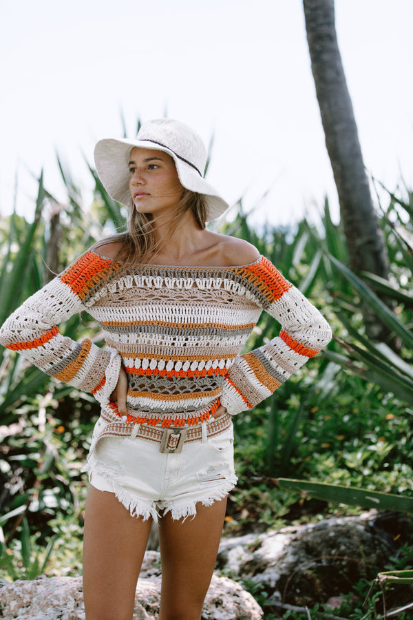 Manuela crochet sweater in orange