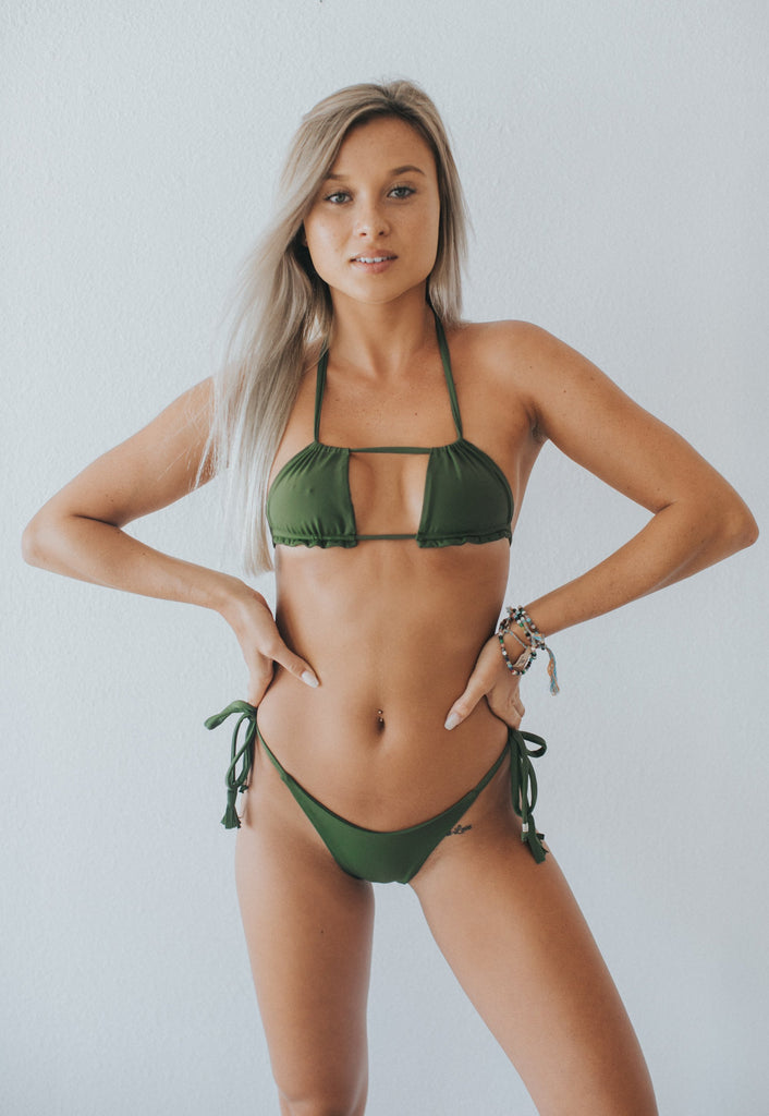 Erica Bikini Bottom In Army Green