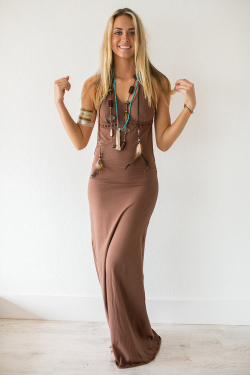 Low Back Brown Maxi Dress