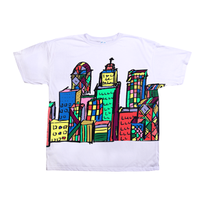 Ungodly! Things: Urban City Buildings Colorful Colorblock Skyline White T-Shirt