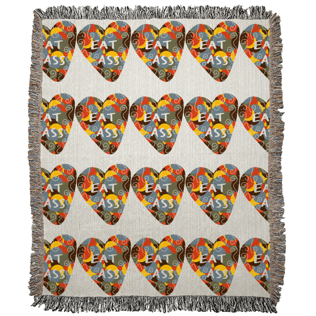 Ungodly! Things: Eat Ass Candy Heart Art Woven Blanket