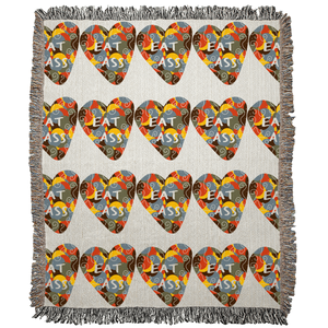Eat Ass Candy Heart Art Woven Blanket - Ungodly! Things