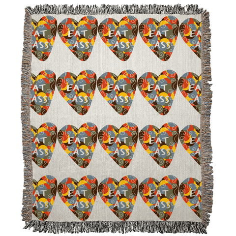 Eat Ass Candy Heart Art Woven Blanket