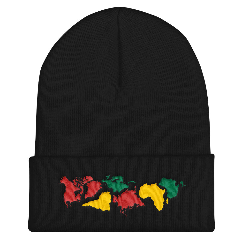 Pangea World Map Continents Embroidered Cuffed Beanie - Ungodly! Things