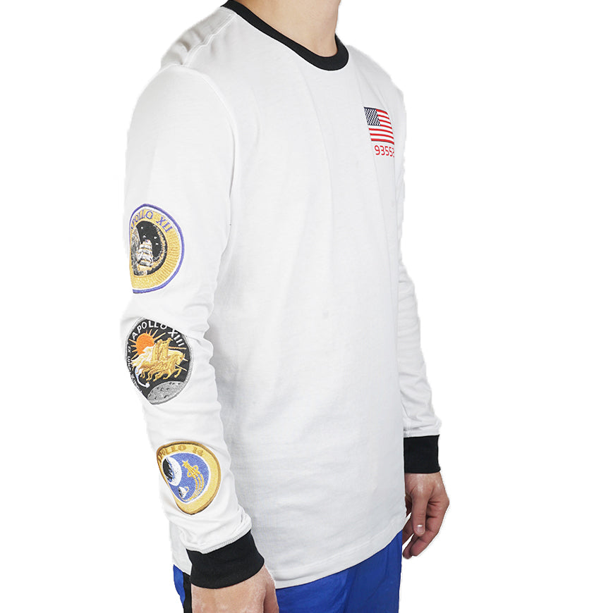 Pg 3 x Long Sleeved Space Themed Tee  White