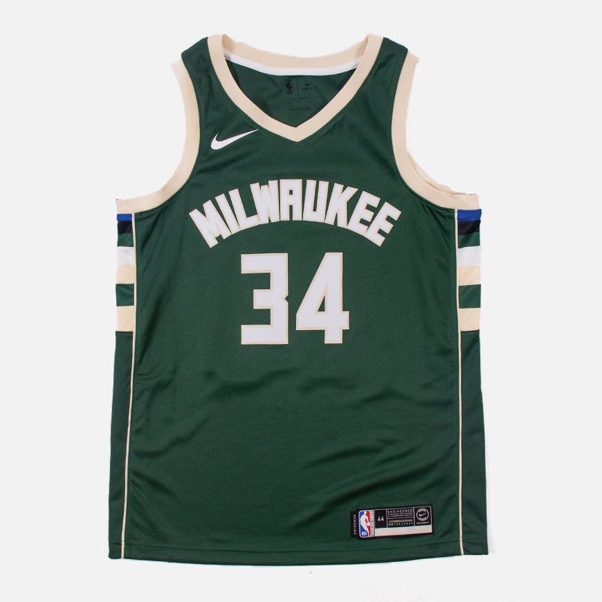 Nike NBA Milwaukee Bucks Giannis Antetokounmpo Swingman Jersey Icon Edition Fir/Flat Opal Jersey