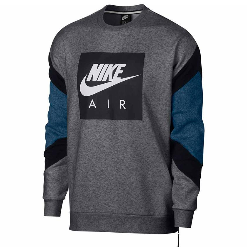 Nsw Nike Air Fleece Crewneck  Charcoal Heather/Black/Obsidian
