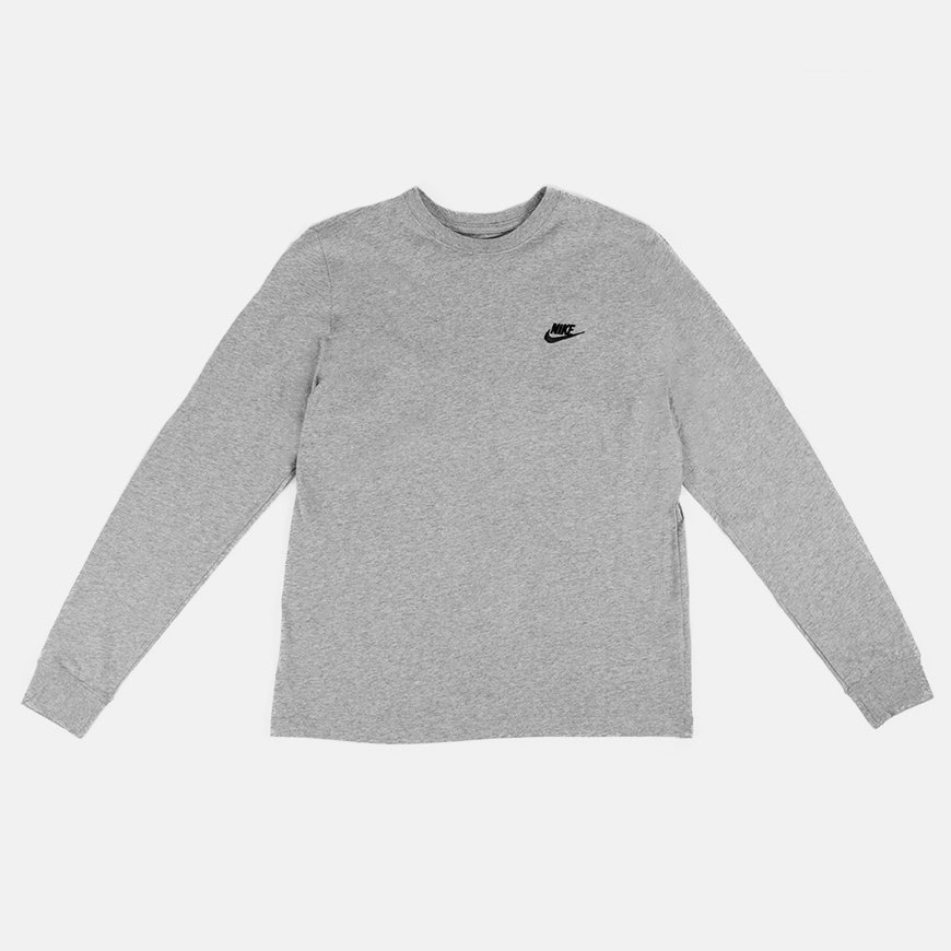Nike Sportswear Club Tee Long Sleeve   Grey/Black