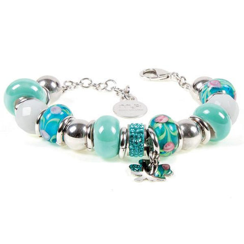 Multicharms Bracelet with central Cloverleaf