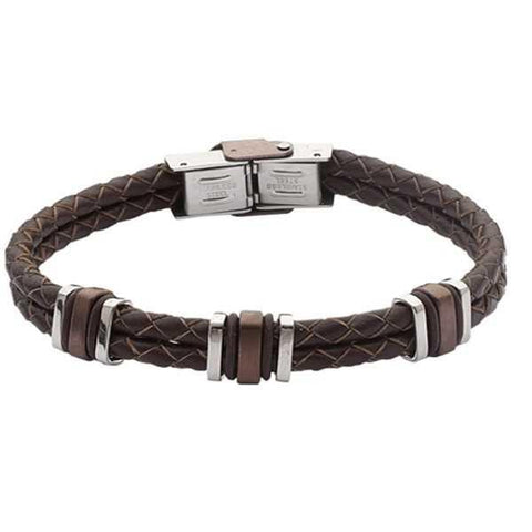 Bracelet to double wire brown leather braided steel and
