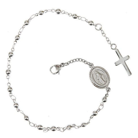 Bracelet rosary with white boules and sacred iconography