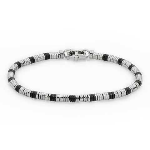 Bracelet tubular stainless steel and black PVD