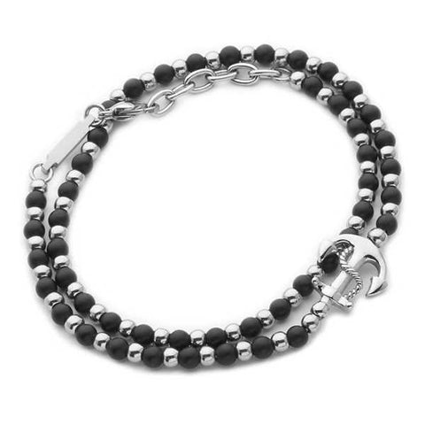 Bracelet double round steel and obsidian