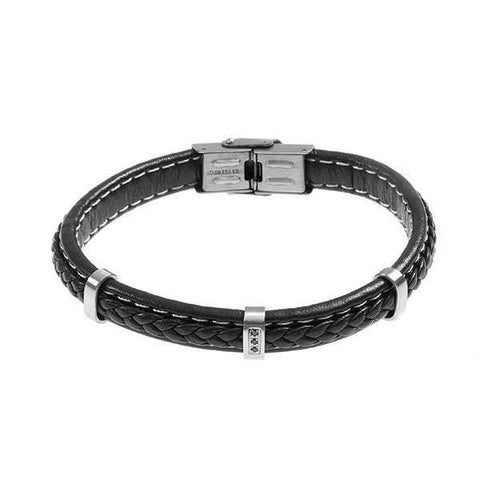 Bracelet in black leather braided and zircons