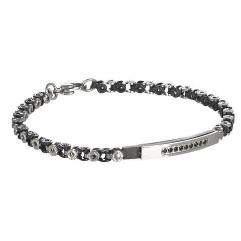 Bracelet with central plate and black cubic zirconia