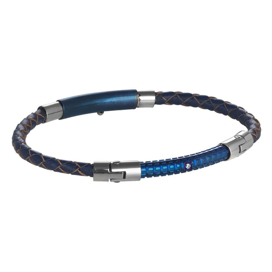 Bracelet in blue leather braided, PVD and blue zircons
