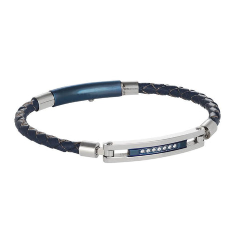 Bracelet in blue leather, steel and zircons