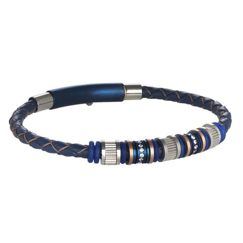 Bracelet in blue leather with passing in steel, PVD and zircons