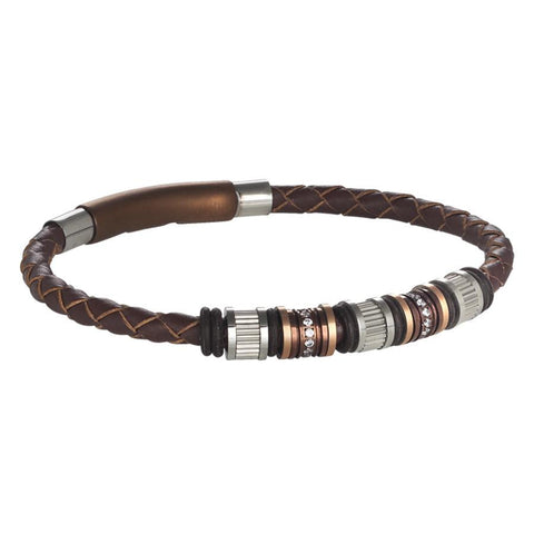 Bracelet in brown leather with passing in steel, PVD and zircons
