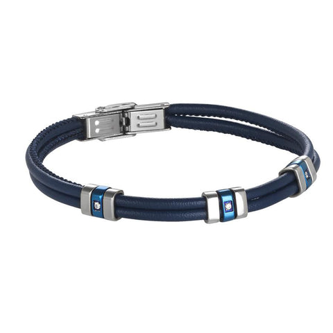 Bracelet double thread in blue leather with PVD and blue zircons