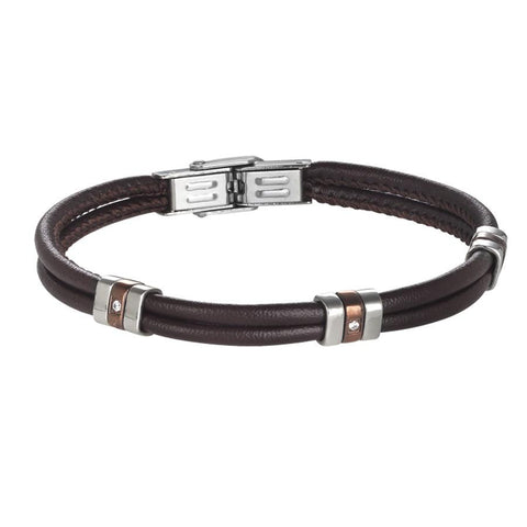 Bracelet double wire brown leather with brown PVD and zircons