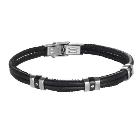 Bracelet double thread in black leather with black PVD and zircons