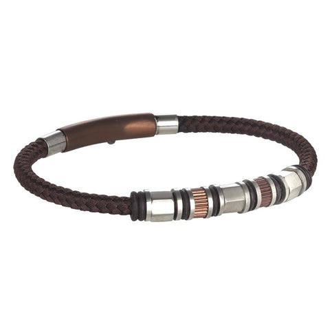 Bracelet in brown leather braided loops in steel and o-ring