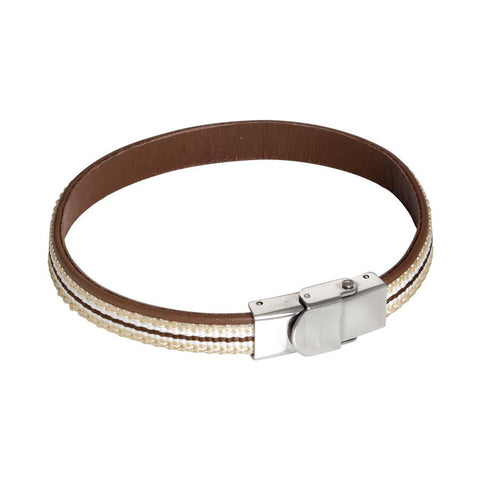 Bracelet in Natural Leather brown and inserts of braided nylon beige, white and brown