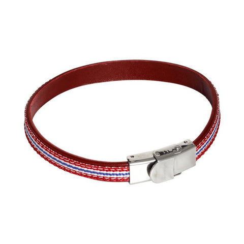 Bracelet in natural leather bordeaux and inserts of braided nylon red, white and blue