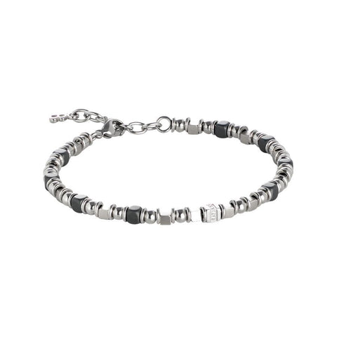 Steel Bracelet with small cubes of black hematite and zircons